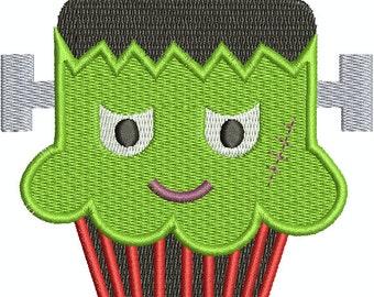 """Halloween Cupcake """"Frankenstein"""" - Digital Embroidery Design"""