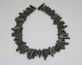 15.5 inches of strand Raw Rough Gun Black Mystic Quartz Crystal Points Pendants,Dagger Shape Sticks Gemstone Beads Necklace