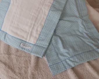 Blue Plaid Burp Cloths
