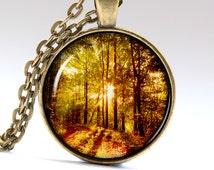 Nature Necklace Wood Pendant Sunset Jewelry Nature Pendant Nature Jewelry Wood Necklace Wood Jewelry Sunset Necklace Sunset Pendant LG122