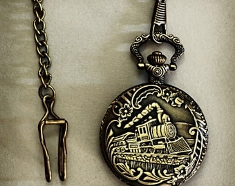 Trainspotter's Pocket Watch Vintage Inspired Men's Bronze pocket watch with Steam Train and Station Master's Key decoration