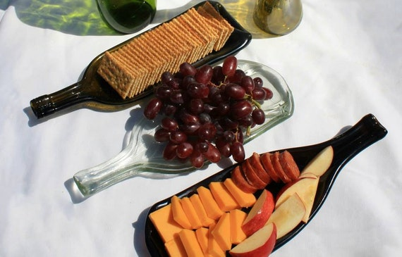 Upcycled Melted Wine Bottle Candy Dish or Snack Tray