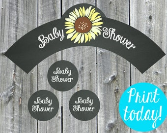 Chalkboard Sunflower Cupcake Wrapper and Toppers, Baby Shower, Printable Wrappers - Digital File