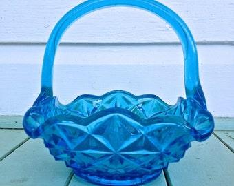 Indiana Glass - Monticello Basket in Horizon Blue