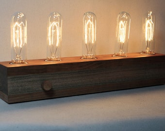 wooden edison lamp desk lamp table lamp edison bulb fabric wire