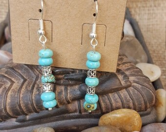 Turquoise dyed howlite earrings