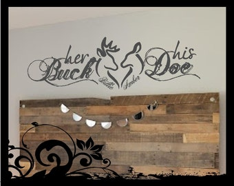 Personalized Her Buck, His Doe - vinyl wall lettering decal; hunting; couple