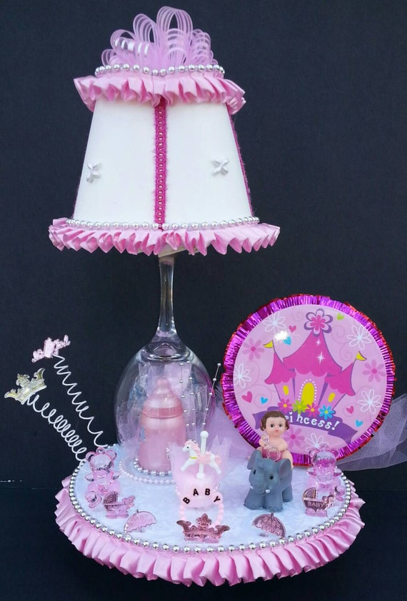baby shower girl elephant lamp cake topper girl baby decor girl baby