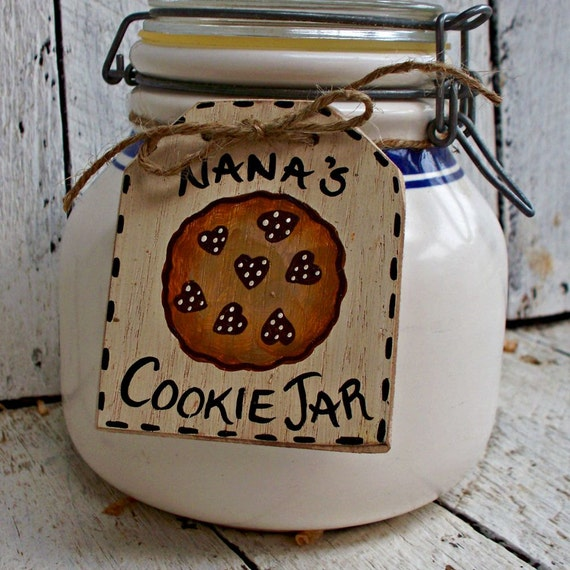 Rustic Cookie Jar Adorable Personalized Cookie Jar Tag Custom Jar Label Rustic Hand Painted