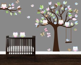 Girls Nursery decal, Nursery wall art, Wall Stickers Nursery, Owl Wall Decal, Owl tree wall art, Birds wall decal, Owl Stickers