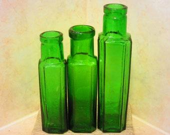 Antique Glass Bottles ~ Emerald Green / Cobalt / Aqua-Blue