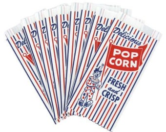 VINTAGE POPCORN BAGS / clowns /party decorations /circusl / popcorn / party treats / circus  /  birthday /  carnival / movie night