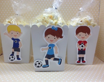 Boys and Girls Soccer Party Popcorn or Favor Boxes - Set of 10