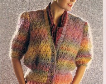 womens multi color lacy cardigan jacket very femenine