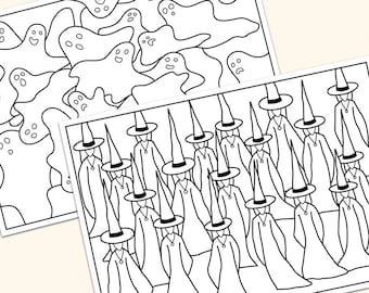 Witches and ghosts coloring printable pages