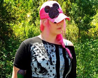 FREE SHIPPING* Pink baseball cap with Mickey Mouse silhouette