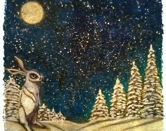 Winter Moon Cast Giclee Print 12x16