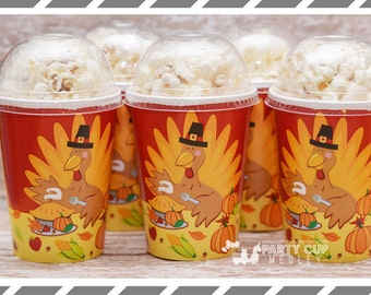 Set of 8 Turkey Party Favor Cups, Popcorn Cups