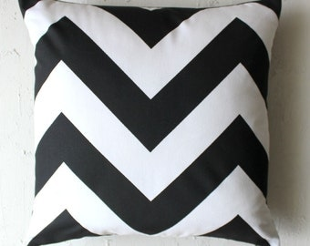 Black and White Chevron Cushion Cover | Pillow Cover | Invisible Zipper 18x18""