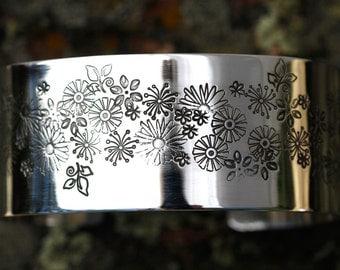 Stamped Flower Garden Cuff Bracelet in Silver