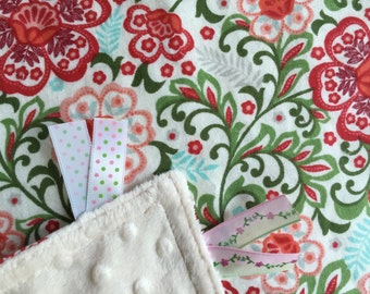 Personalized Tag Minky Sensory Ribbon Blanket Lovey- Beautiful Red and Green Floral on Minky with  Personalization