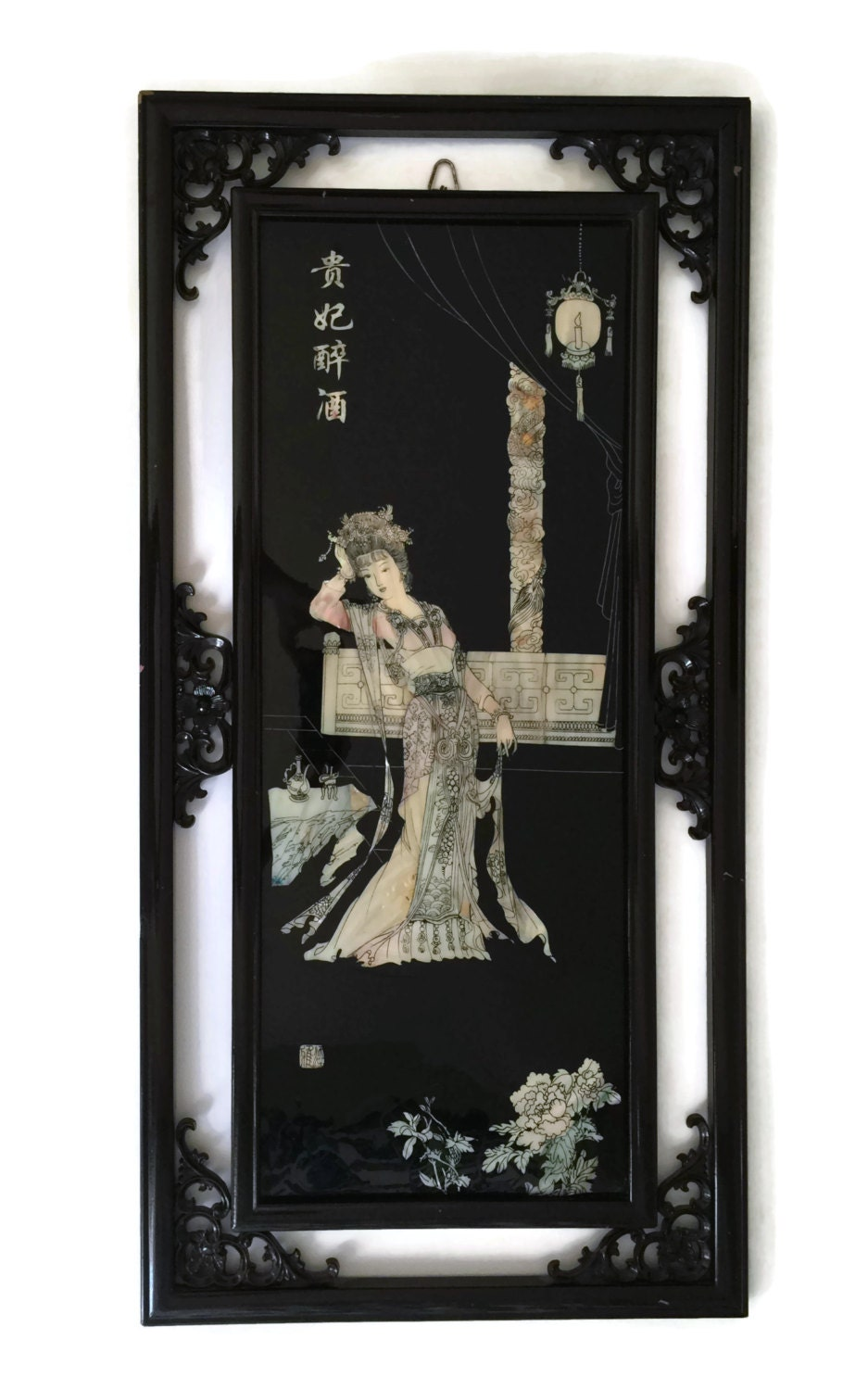 asian black lacquer wall art mother of pearl geisha. Black Bedroom Furniture Sets. Home Design Ideas