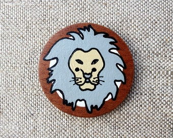 Leo Zodiac Sign Hand Painted Wooden Button with Zodiac Symbol Leo, Astrology Art Leo Picture, Lion Painting