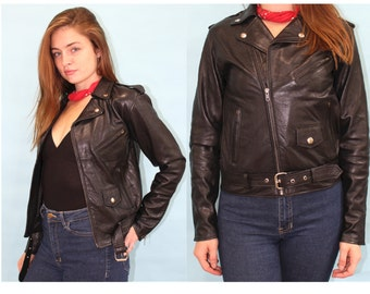 Vintage 90's BLACK LEATHER xs Jacket - Vintage 90s Black Leather Women's Jacket Extra Small XS Soft Leather Biker Jacket Motorcycle