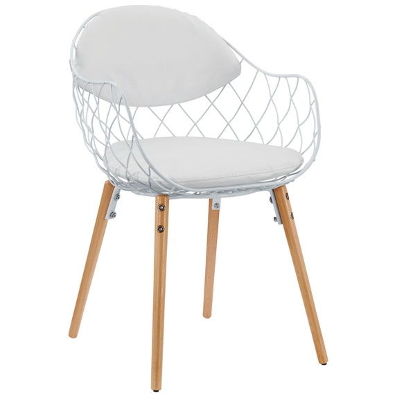Modern Wire Basket Chair With Vinyl Seat Back By Designonfront