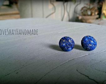 Galaxy Fabric Button Earrings