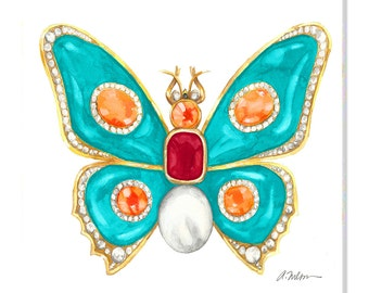 Butterfly Brooch Watercolor Rendering in Yellow Gold with Turquoise, Ruby, Diamonds, Hessonite Garnets and Pearl printed on Canvas
