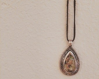 leather + paua shell pendant