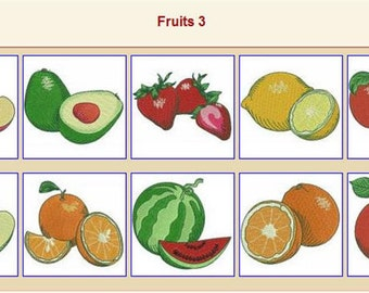 10 fruit embroidery