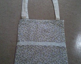 Purple Floral Printed Tote Bag