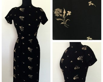 Original Vintage 1950's Black Wool Wiggle Dress With Embroidery Flowers, 50's Black Wiggle Dress, 50's Day Dress, Size: X-Small.