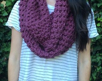 Crochet Fig / Purple Infinity Scarf