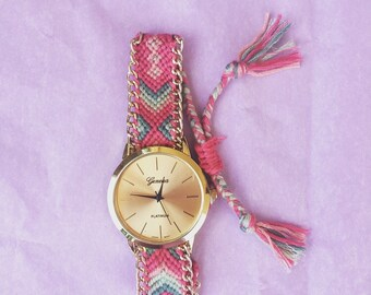 SALE Braided pink & Turqoise watch