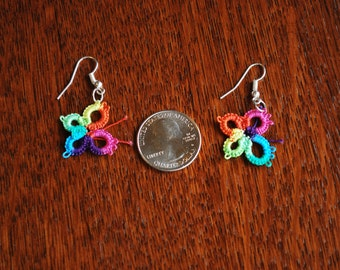 Tatted, handcrafted, lace butterfly earrings