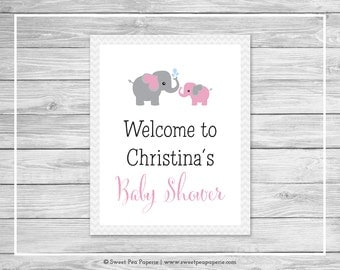 Elephant Baby Shower Welcome Sign - Printable Baby Shower Welcome Sign - Pink and Gray Elephant Baby Shower - EDITABLE - SP101
