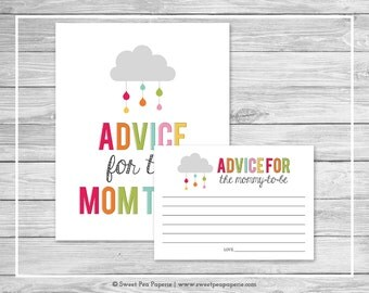 Rainbow Showers Baby Shower Advice for Mom Cards - Printable Baby Shower Advice for Mom Cards - Rainbow Baby Shower - Advice for Mom - SP100