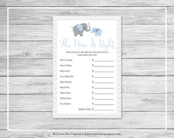 Elephant Baby Shower Price Is Right Game - Printable Baby Shower Price Is Right Game - Blue and Gray Elephant Baby Shower - SP102