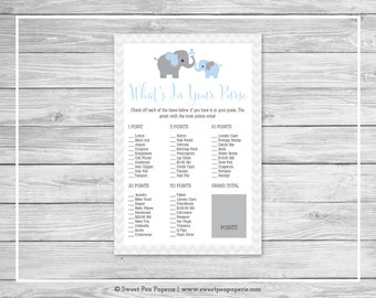 Elephant Baby Shower What's In Your Purse Game - Printable Baby Shower What's In Your Purse Game - Blue and Gray Elephant Baby Shower -SP102
