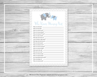 Elephant Baby Shower Who Knows Mommy Best Game - Printable Baby Shower Who Knows Mommy Best Game - Blue and Gray Elephant Baby Shower -SP102