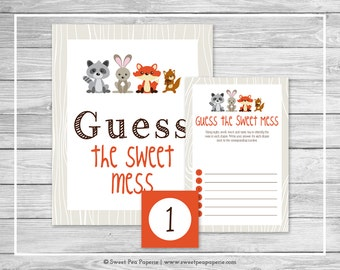 Woodland Animals Baby Shower Guess The Mess Game - Printable Baby Shower Guess The Sweet Mess Game - Woodland Animals Baby Shower - SP105