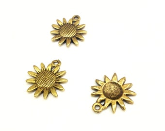 8 Sunflower Charms, Antique Gold Plated Brass, Textured, 19x16mm