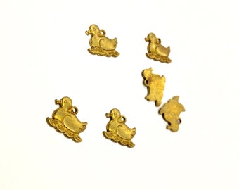 28 Pieces Small Swimming Duck Charms, Stamped Raw Brass, Left Facing Only, Vintage, 9x10mm