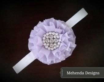 Newborn Baby girl toddler lavender flower headband. Pearl and rhinestone headband