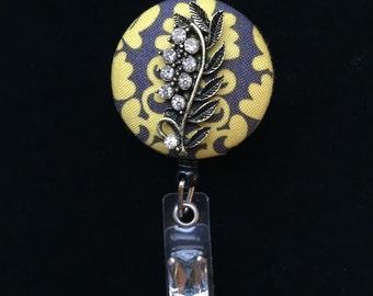 Willow Leaf Sparkle-Nurse Retractable ID Badge Reel/ RN Badge Holder/Doctor Badge Reel/Nurse Badge Holder/Nursing Student Gifts