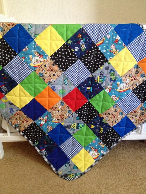 Baby quilt rocket baby quilt outer space baby space baby for Outer space quilt patterns