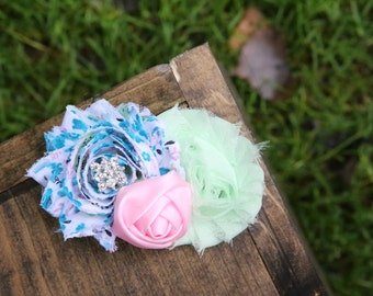 teal, mint, and pink shabby chic headband